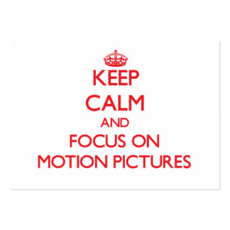 Guarde la calma y el foco en películas plantillas de tarjetas de visita