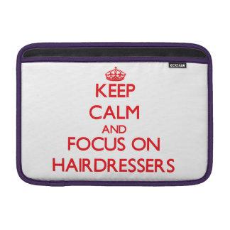 Guarde la calma y el foco en peluqueros funda para macbook air
