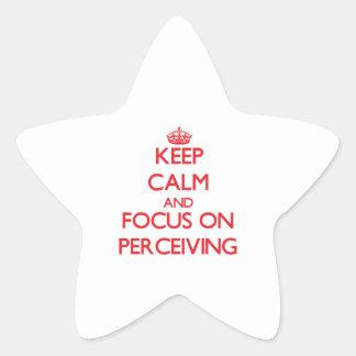 Guarde la calma y el foco en percibir calcomania forma de estrella personalizadas