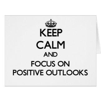 Guarde la calma y el foco en perspectivas positiva felicitaciones