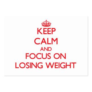 Guarde la calma y el foco en peso perdidoso tarjeta de visita