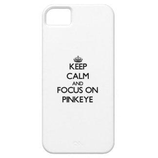 Guarde la calma y el foco en Pinkeye Funda Para iPhone 5 Barely There