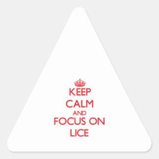 Guarde la calma y el foco en piojos pegatina triangular