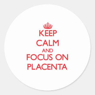 Guarde la calma y el foco en placenta pegatina redonda