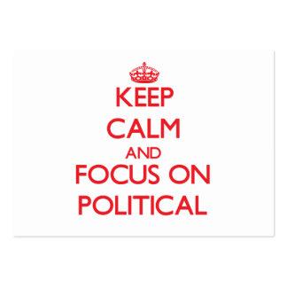 Guarde la calma y el foco en político tarjetas personales