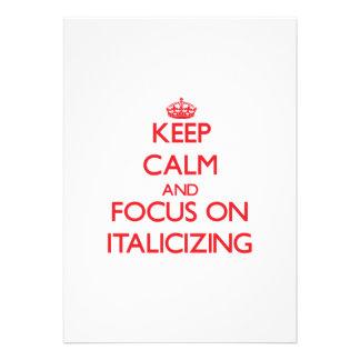Guarde la calma y el foco en poner en letra itálic comunicados