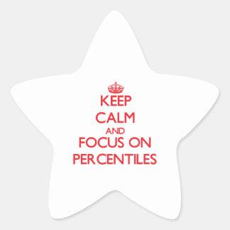 Guarde la calma y el foco en porcentajes colcomanias forma de estrellas