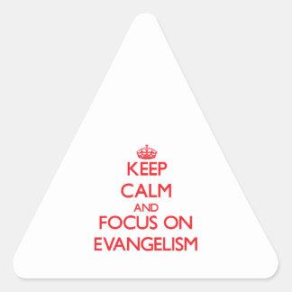 Guarde la calma y el foco en PREDICACIÓN DEL Calcomanía De Triangulo