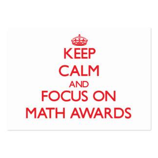 Guarde la calma y el foco en premios de la matemát plantilla de tarjeta de negocio