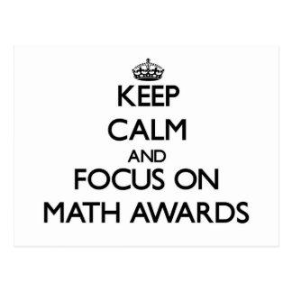 Guarde la calma y el foco en premios de la matemát postales