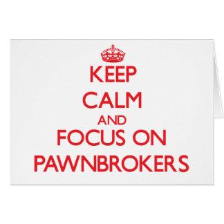 Guarde la calma y el foco en prestamistas tarjeta de felicitación