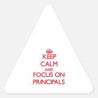 Guarde la calma y el foco en principales pegatina triangular