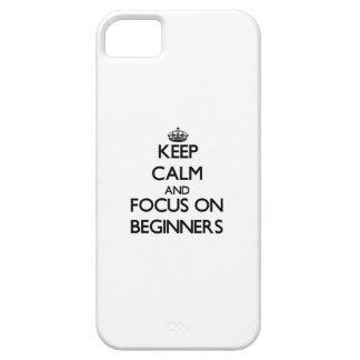 Guarde la calma y el foco en principiantes iPhone 5 protector
