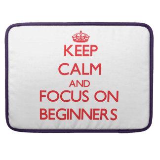 Guarde la calma y el foco en principiantes funda para macbook pro