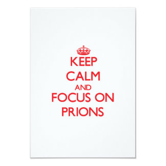 """Guarde la calma y el foco en priones invitación 3.5"""" x 5"""""""