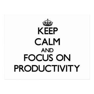 Guarde la calma y el foco en productividad tarjetas postales