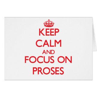 Guarde la calma y el foco en prosas tarjeta de felicitación