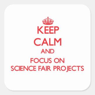 Guarde la calma y el foco en proyectos de la feria pegatinas cuadradas