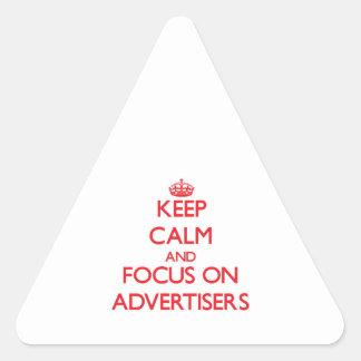 Guarde la calma y el foco en PUBLICISTAS Calcomanía Triangulo