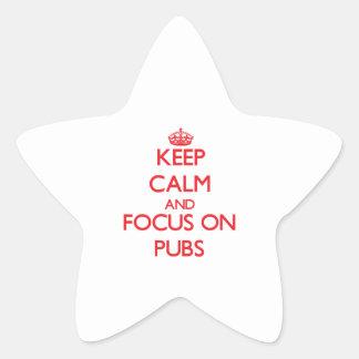 Guarde la calma y el foco en Pubs Calcomania Forma De Estrella