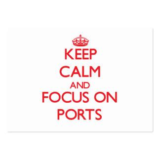 Guarde la calma y el foco en puertos plantilla de tarjeta personal