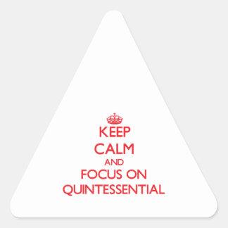 Guarde la calma y el foco en quintaesencial pegatina triangular