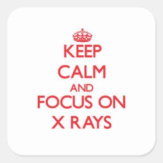 Guarde la calma y el foco en radiografías pegatinas cuadradas personalizadas