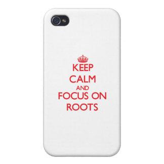 Guarde la calma y el foco en raíces iPhone 4 carcasas