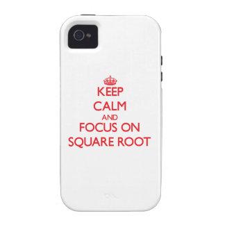 Guarde la calma y el foco en raíz cuadrada Case-Mate iPhone 4 funda