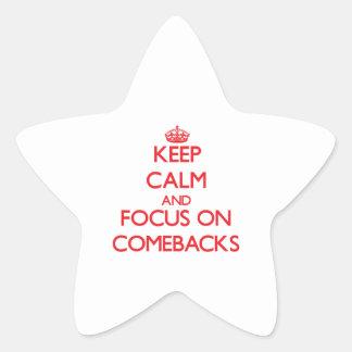 Guarde la calma y el foco en reapariciones calcomanía forma de estrellae