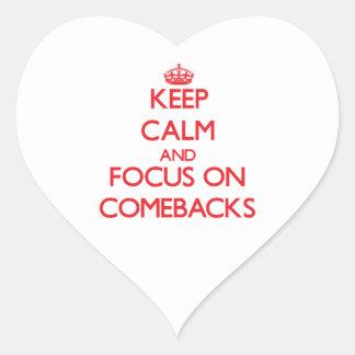 Guarde la calma y el foco en reapariciones pegatina corazón