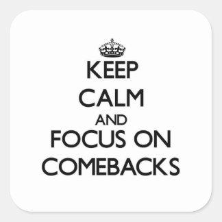 Guarde la calma y el foco en reapariciones colcomanias cuadradases