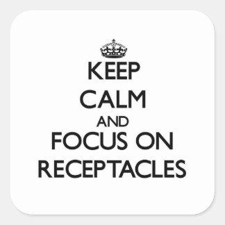 Guarde la calma y el foco en receptáculos pegatina cuadrada