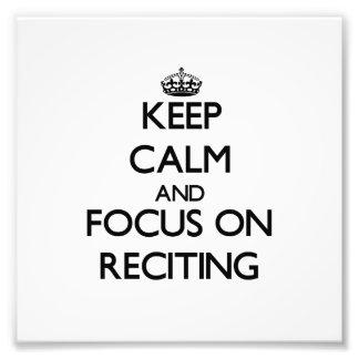 Guarde la calma y el foco en recitar arte fotografico