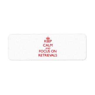 Guarde la calma y el foco en recuperaciones etiquetas de remite