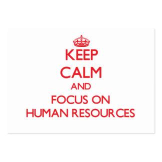 Guarde la calma y el foco en recursos humanos plantillas de tarjetas de visita