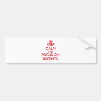 Guarde la calma y el foco en regentes pegatina de parachoque