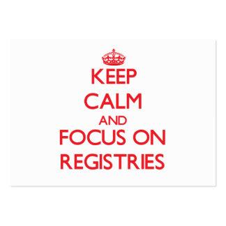 Guarde la calma y el foco en registros tarjeta de negocio