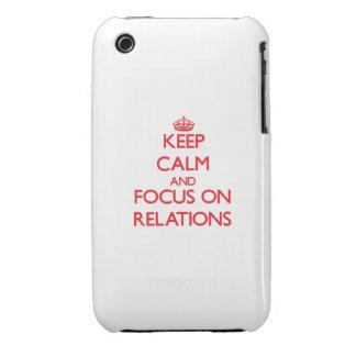 Guarde la calma y el foco en relaciones iPhone 3 Case-Mate coberturas