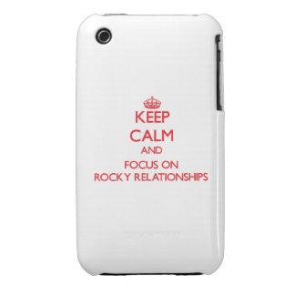 Guarde la calma y el foco en relaciones rocosas Case-Mate iPhone 3 carcasas