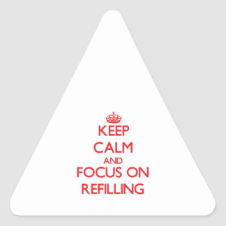 Guarde la calma y el foco en rellenar calcomanías de triangulos personalizadas
