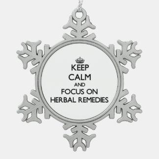 Guarde la calma y el foco en remedios herbarios adornos