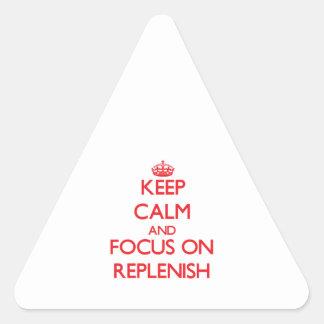 Guarde la calma y el foco en Replenish Pegatina Trianguladas Personalizadas