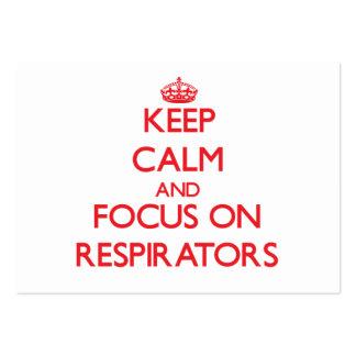 Guarde la calma y el foco en respiradores plantilla de tarjeta de negocio