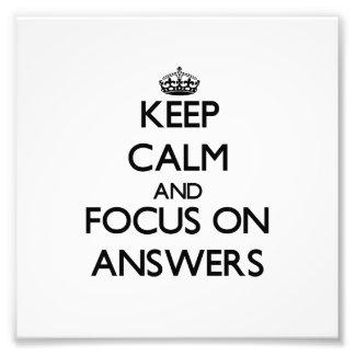 Guarde la calma y el foco en respuestas fotos