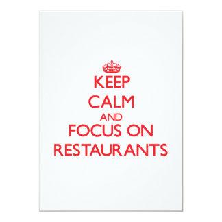 """Guarde la calma y el foco en restaurantes invitación 5"""" x 7"""""""