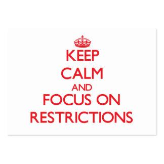 Guarde la calma y el foco en restricciones tarjetas de visita grandes