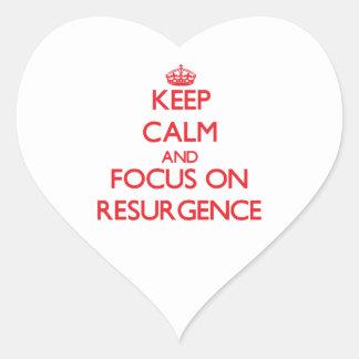 Guarde la calma y el foco en resurgimiento pegatina corazón