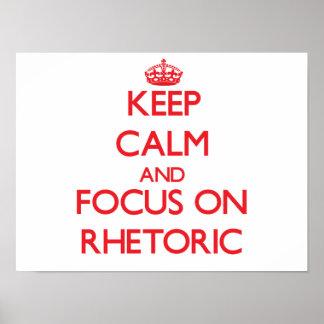 Guarde la calma y el foco en retórico póster