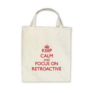 Guarde la calma y el foco en retroactivo bolsa lienzo